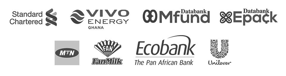 MTN Ghana, Ecobank, Standard Chartered Bank Ghana, Unilever, Vivo Energy Ghana, Databank Epack, Databank MFund, Fan Milk